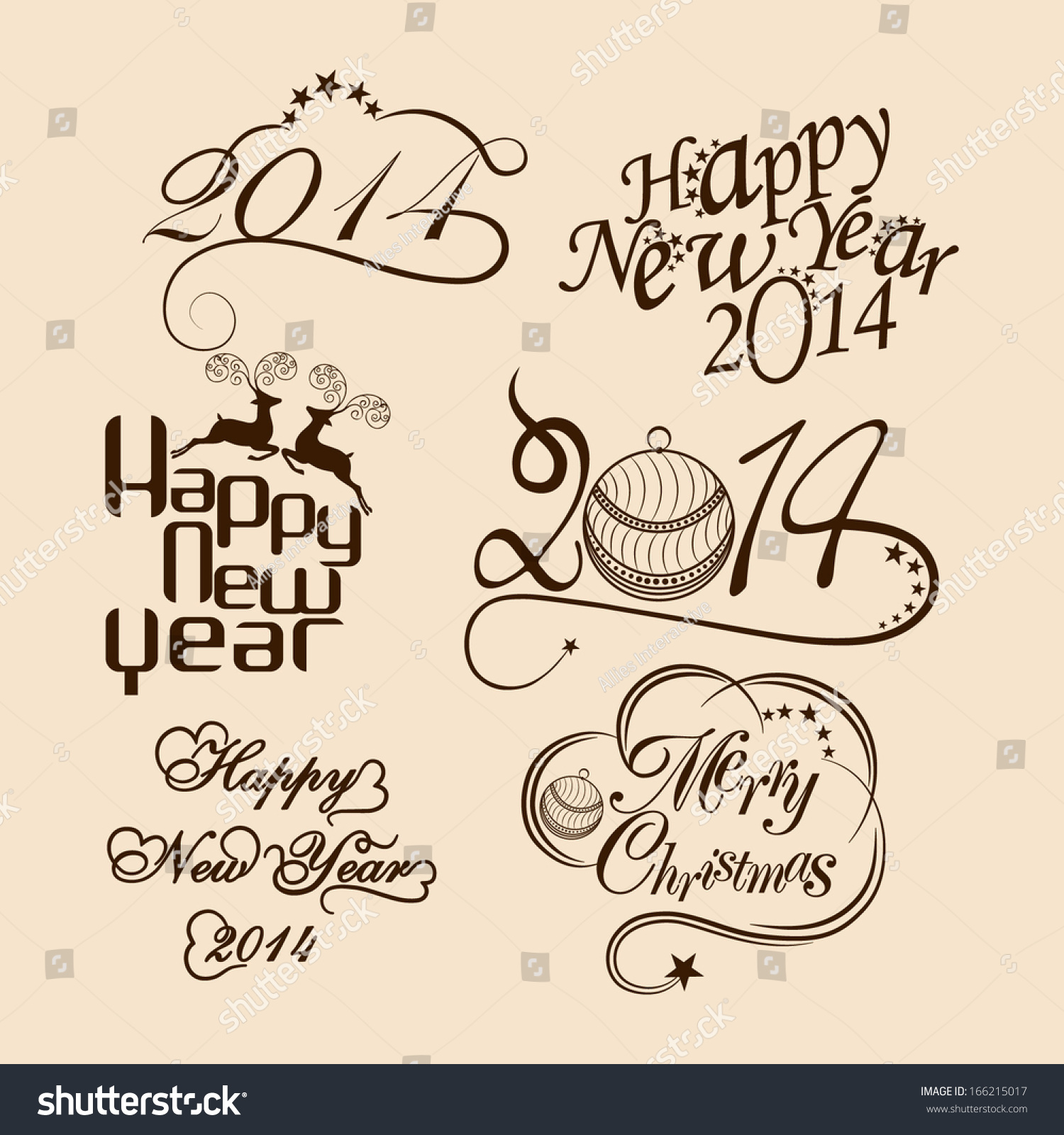 Royalty-free Happy New Year 2014 and Merry Christmas… #166215017 ...