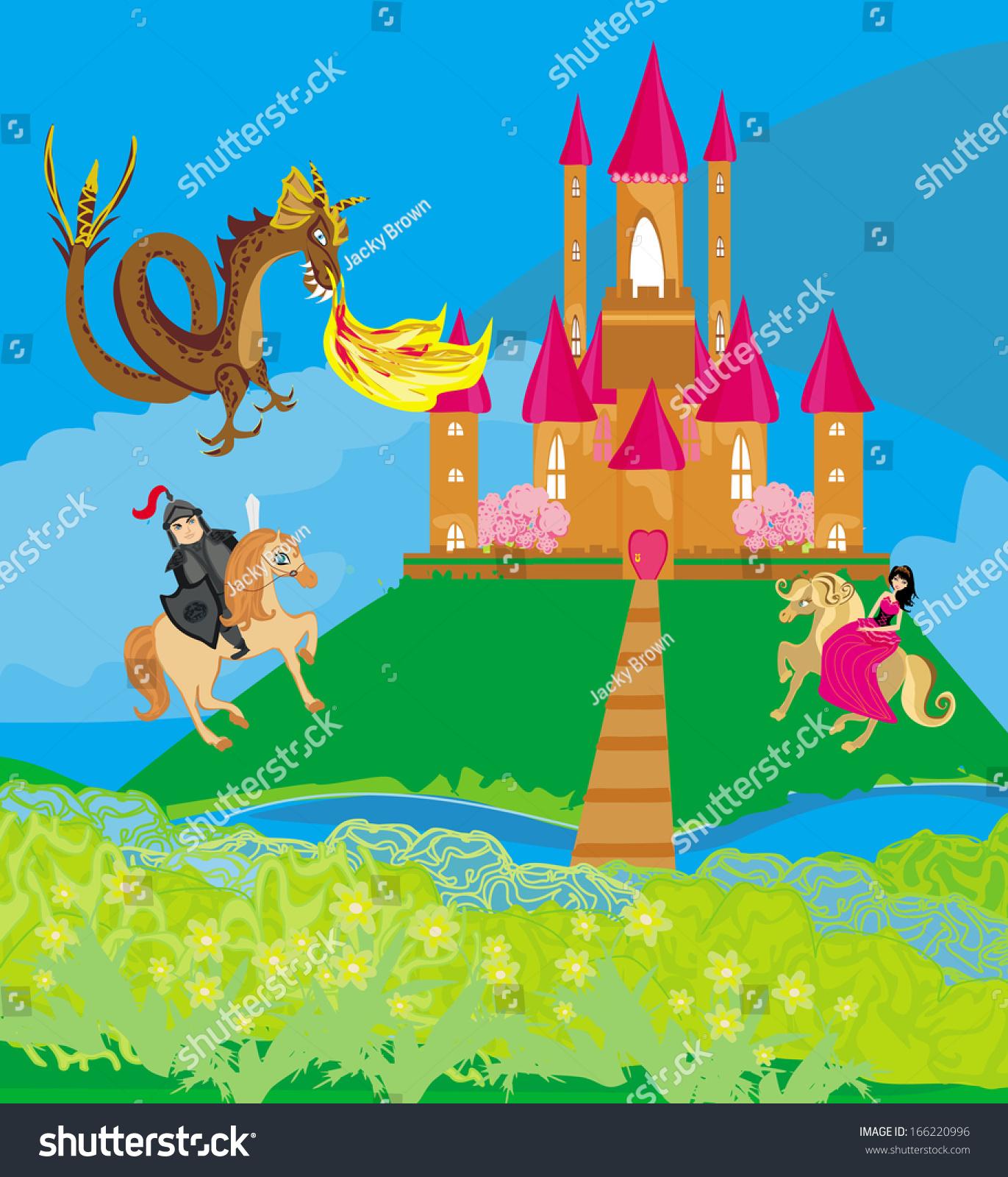 Dragon Attacks Castle Stock Vector 166220996 - Shutterstock