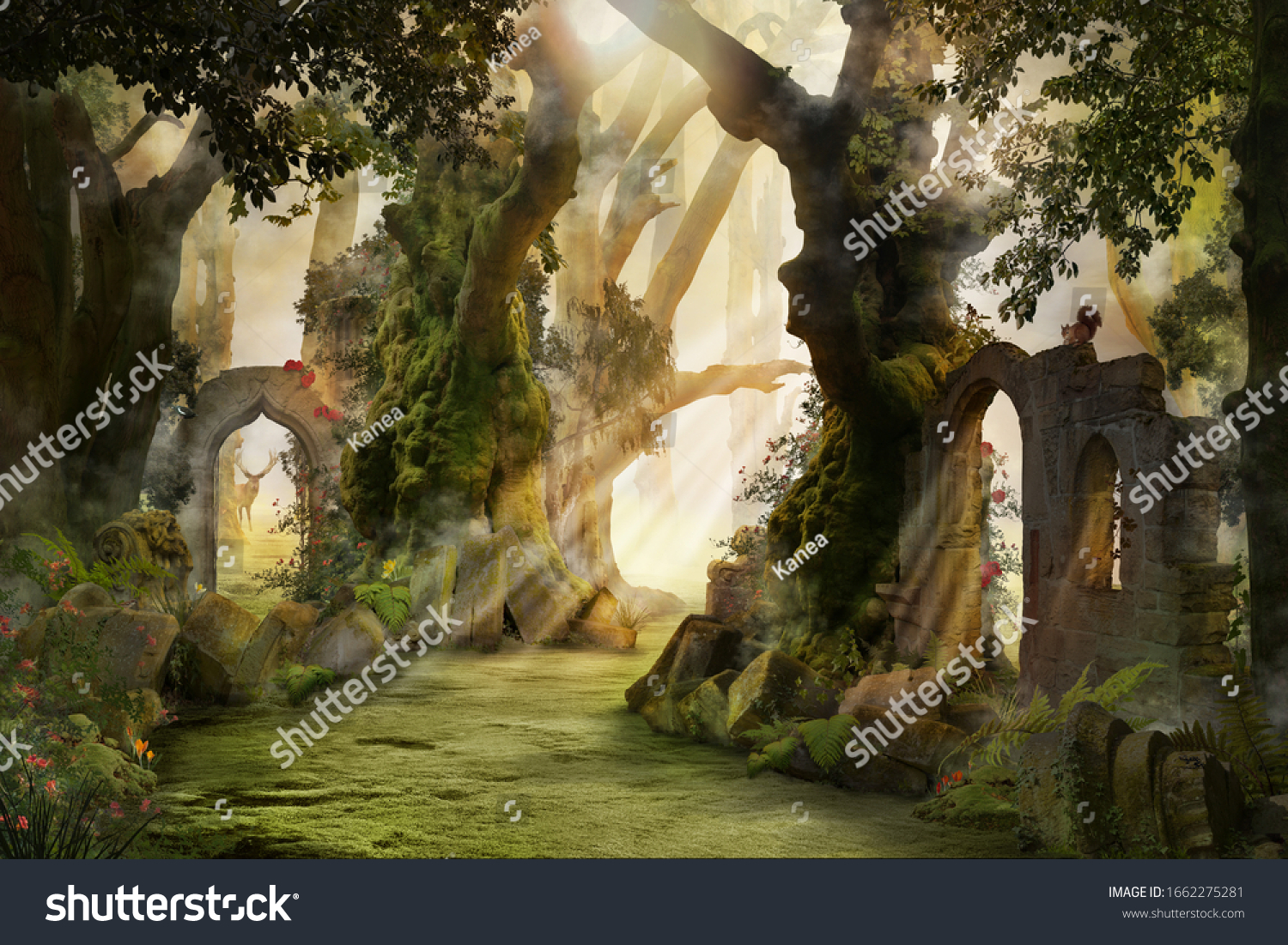 into the deep woods, atmospheric landscape with archway and ancient trees, misty and foggy mood #1662275281