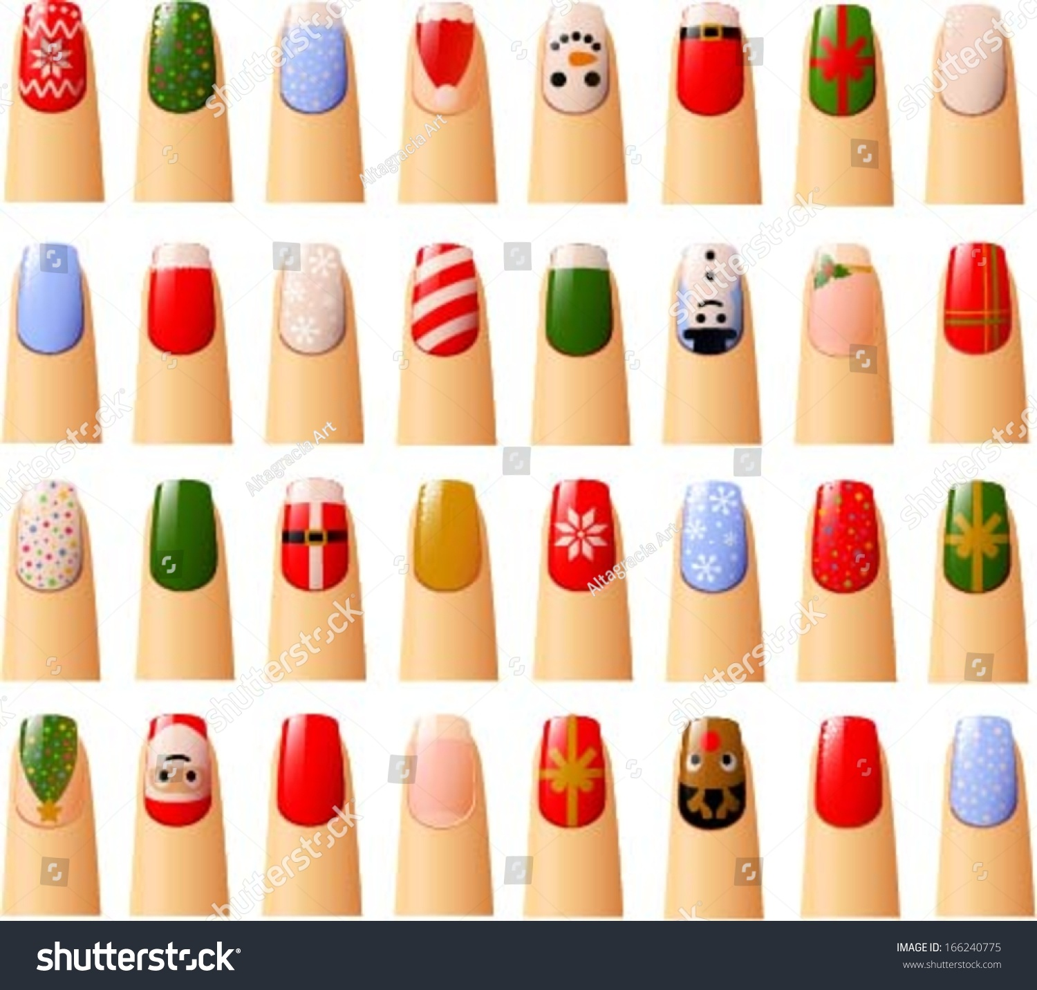Vector Illustration Various Nails Christmas Decorations Stock Vector ...