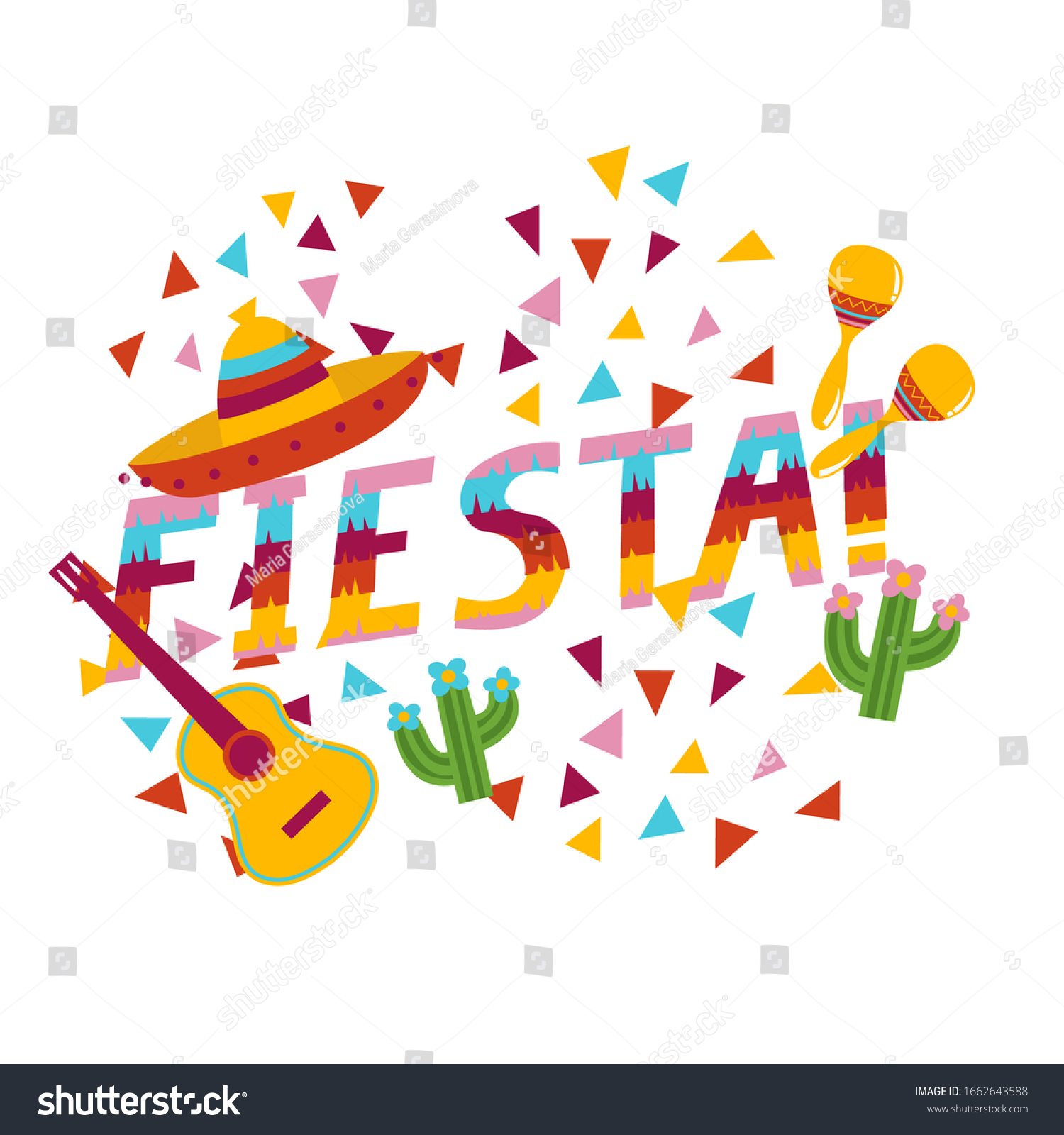 Fiesta Exclamation Surrounded By Confetti Sombrero Stock Vector Royalty Free 1662643588