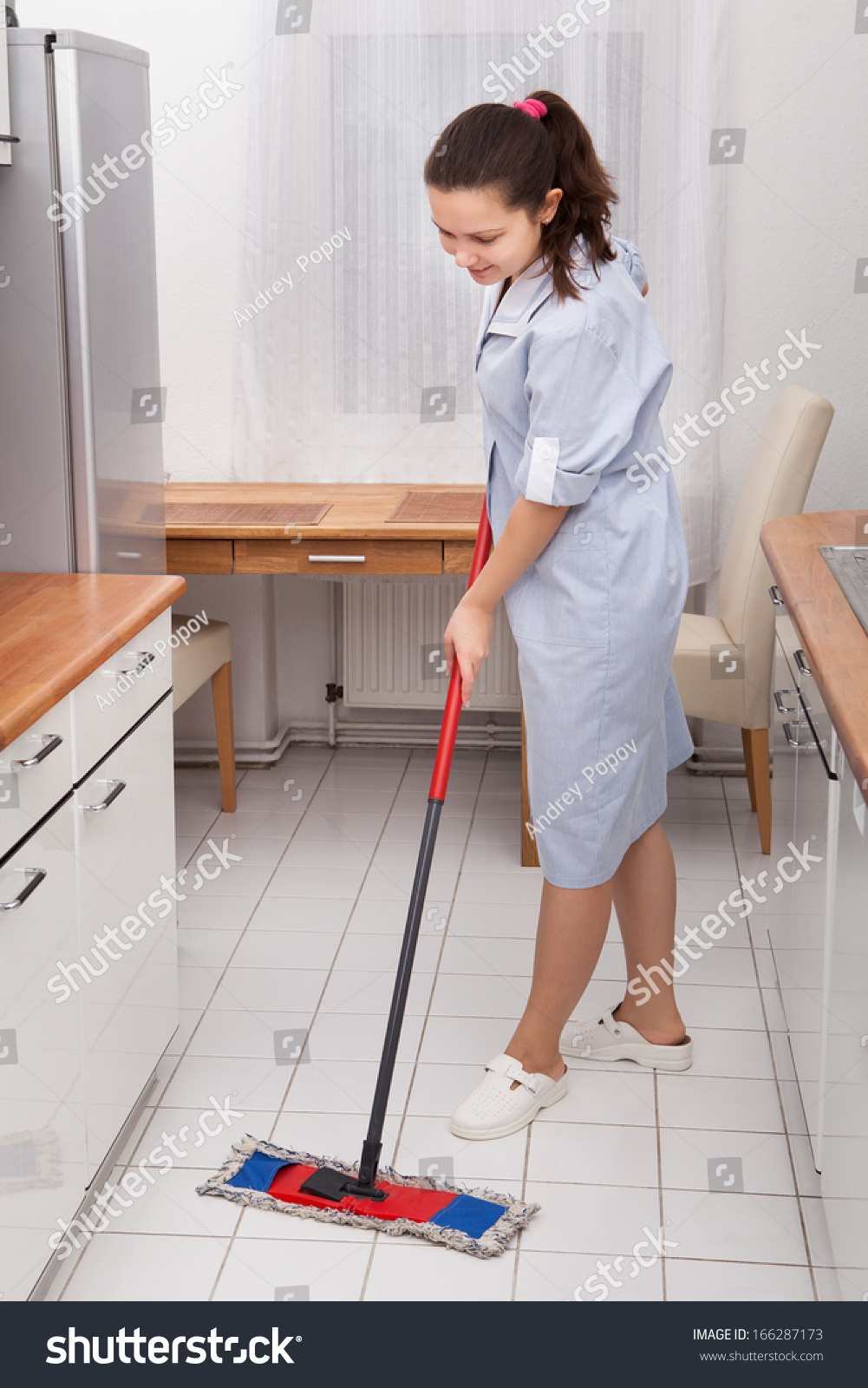 Kitchen Floor Cleaners Portrait Young Maid Uniform Cleaning Kitchen Stock Photo 166287173