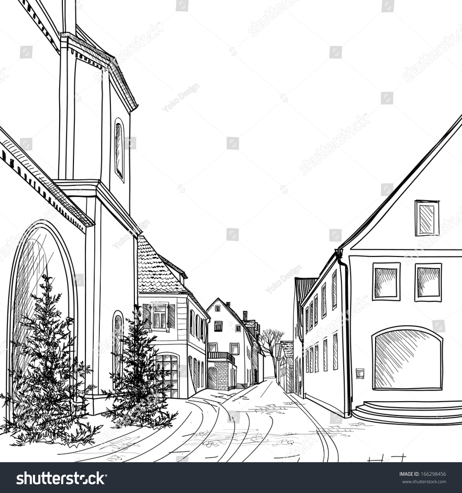 Городской пейзаж черно белый рисунки детей 3
