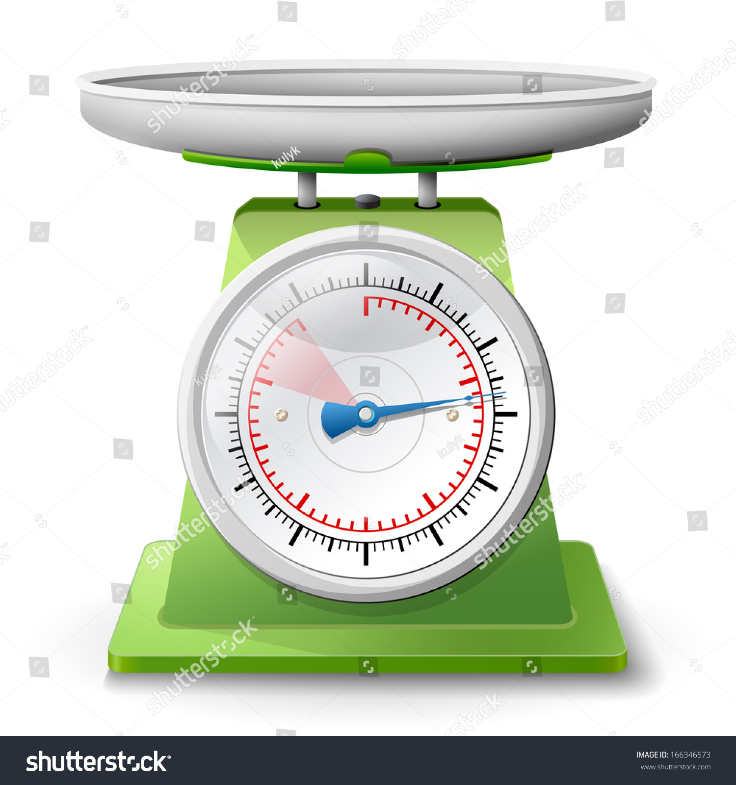 Small Kitchen Weighing Scales Weight Scale On White Background Weighing Stock Vector 166346573
