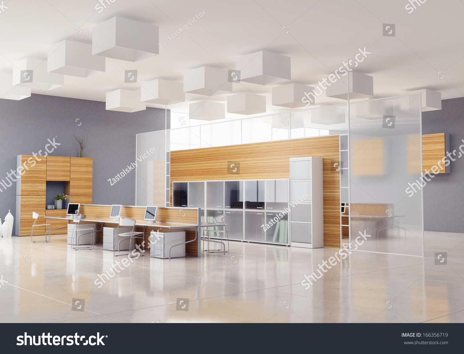 Modern Office Interior Design Stock Illustration 166356719