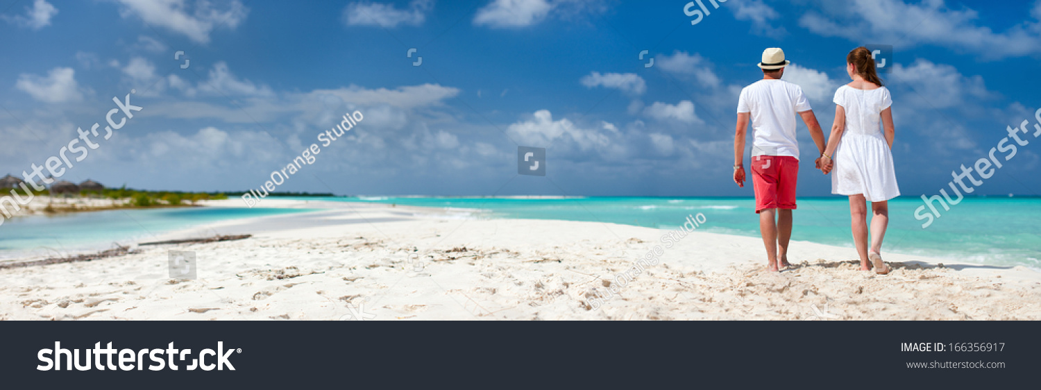 Panorama Romantic Couple Caribbean Beach Stock Photo 166356917