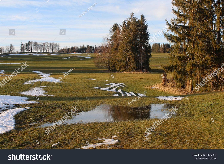 Snow melting in the late winter, Allgäu, Bavaria