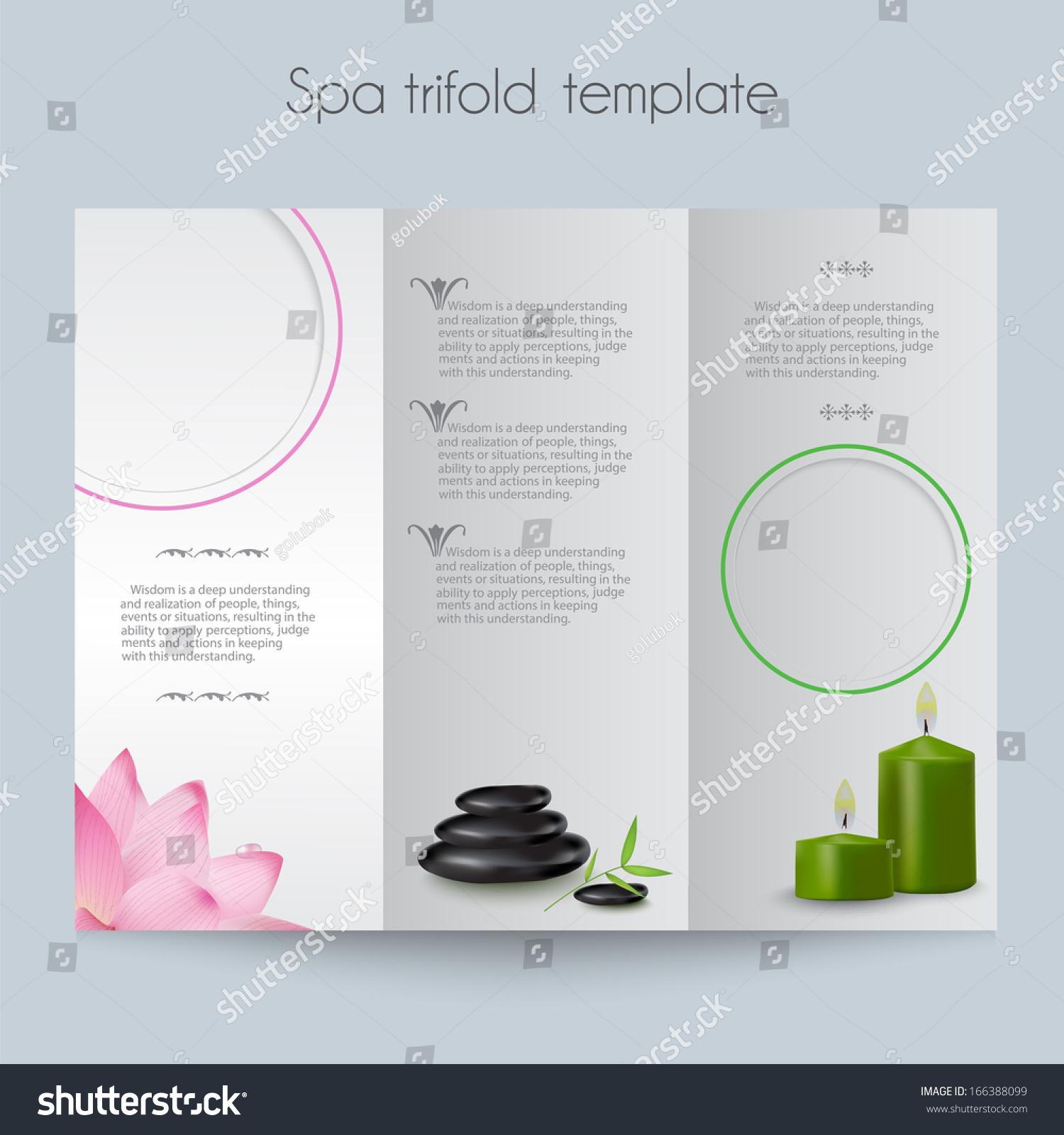 brochure mock up template - beauty spa salon trifold mock template stock vector