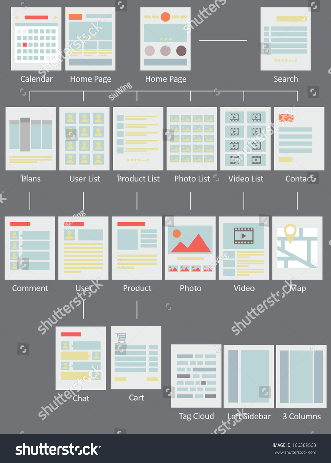 Web Design Layout Flow Chart Stock Vector Royalty Free 166389563