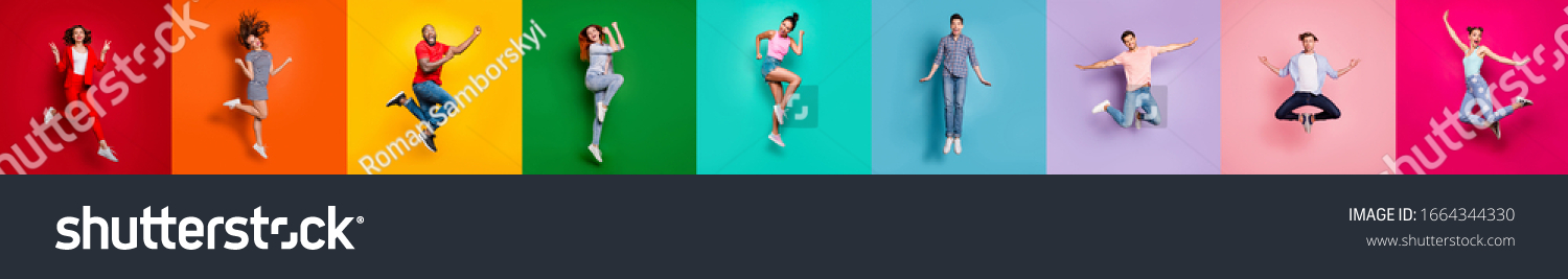 Collage of nine glad carefree attractive shiny modern multiethnic delight millennials person youngsters have diferent age good mood flying air isolated over rainbow background sale summer concept #1664344330