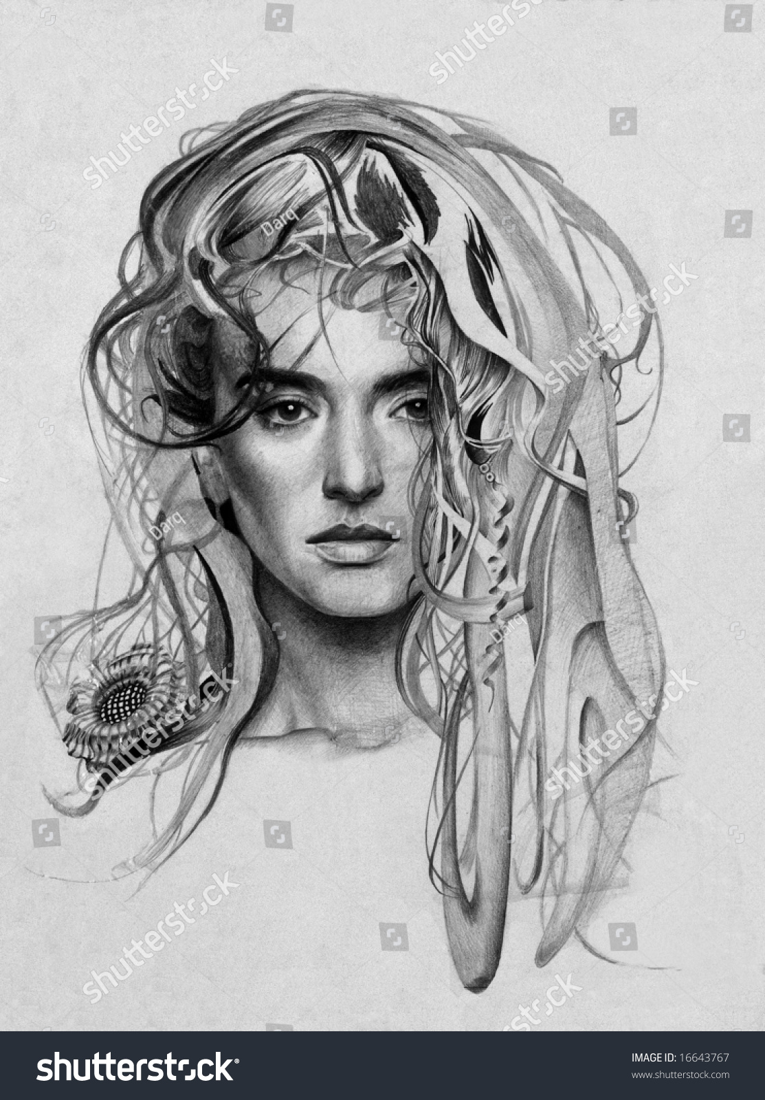 My own pencil drawing of young lady with fantasy hairs