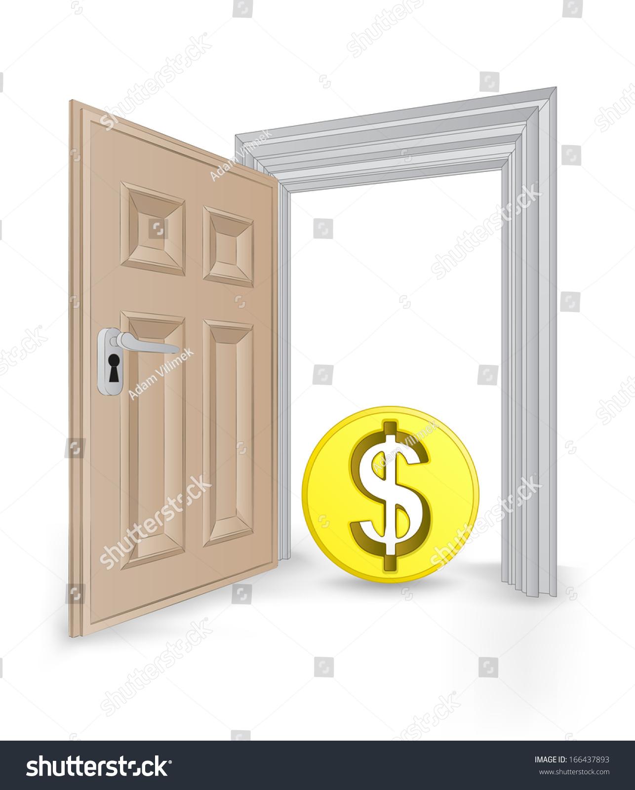 Open Isolated Doorway Frame Dollar Coin Stock Vector 166437893 ...