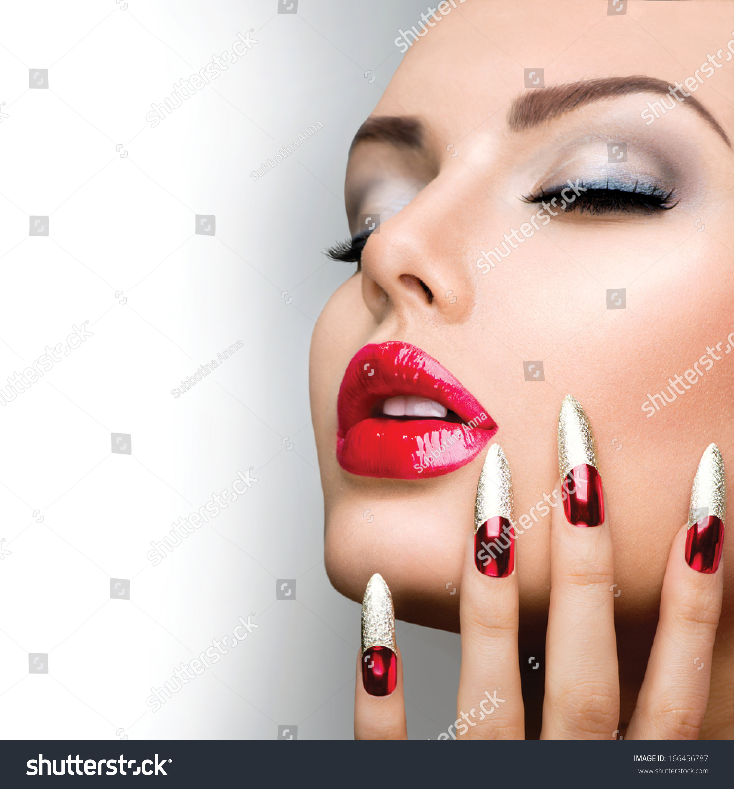 Free Manicure Beauty Hands Makeover: Fashion Beauty Model Girl. Manicure And Make-Up. Nail Art