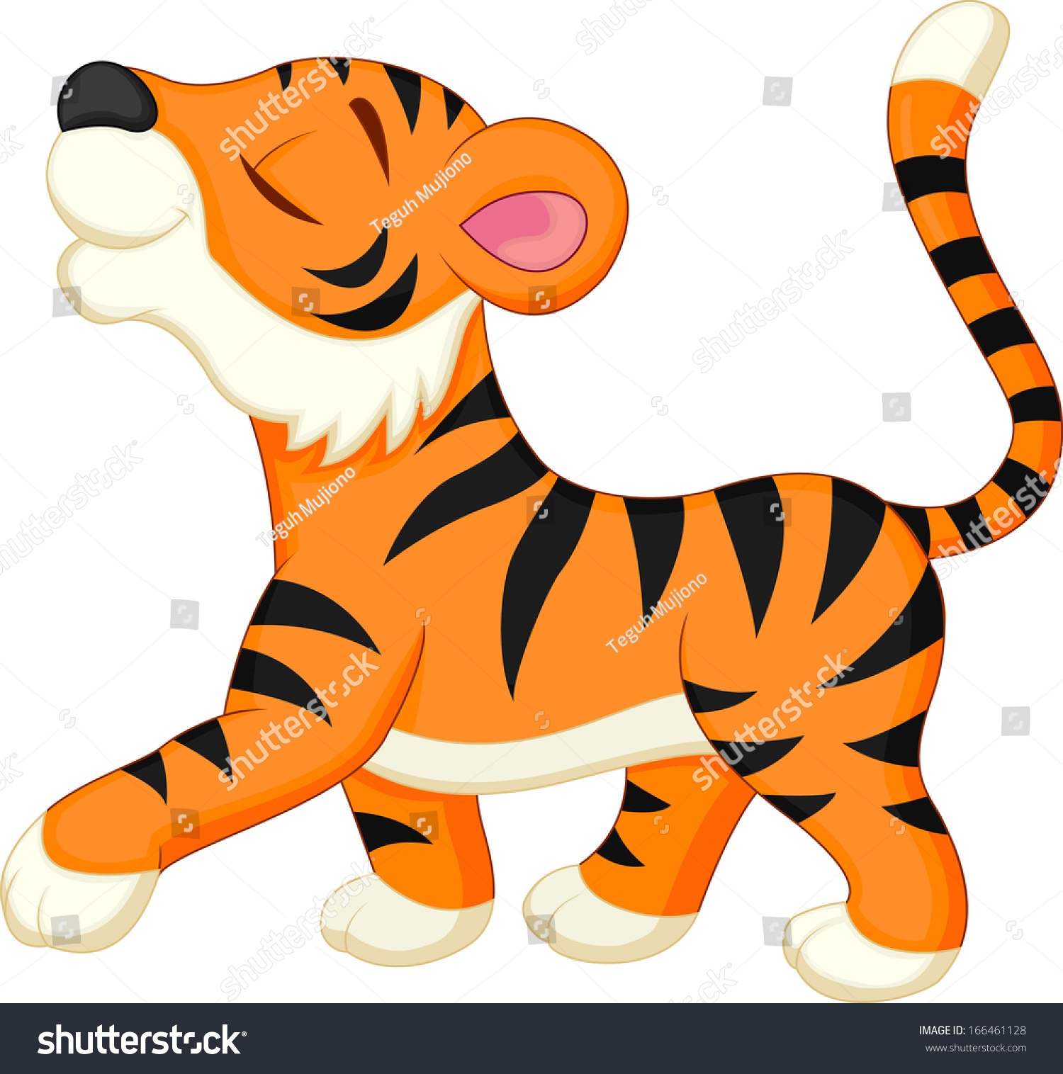 cute tiger cartoon stock illustration 166461128 shutterstock