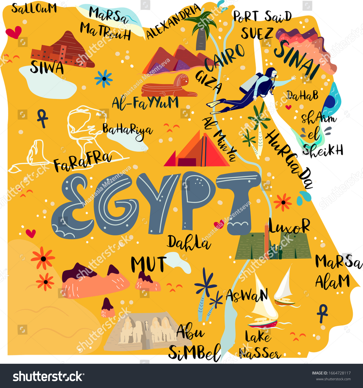 Egypt Map Flat Hand Drawn Vector Stock Vector Royalty Free 1664728117