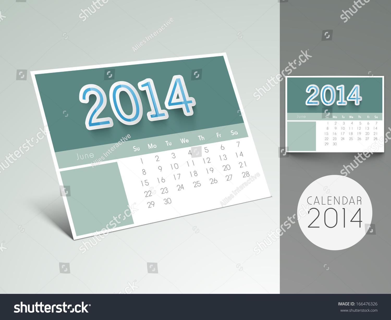 Happy New Year 2014 Desk Calendar Stock Illustration 166476326