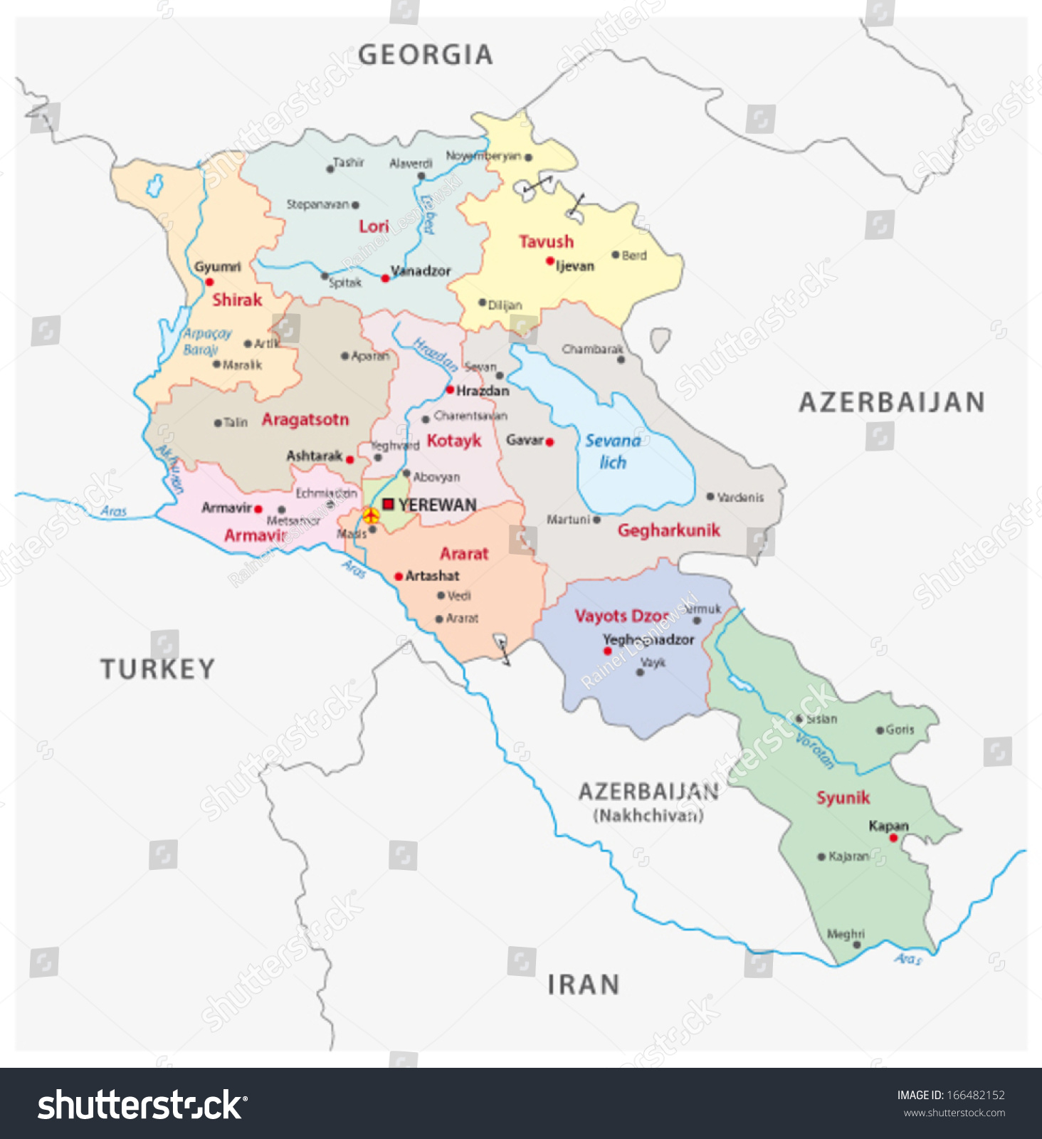 Armenia Administrative Map Stock Vector 166482152 Shutterstock