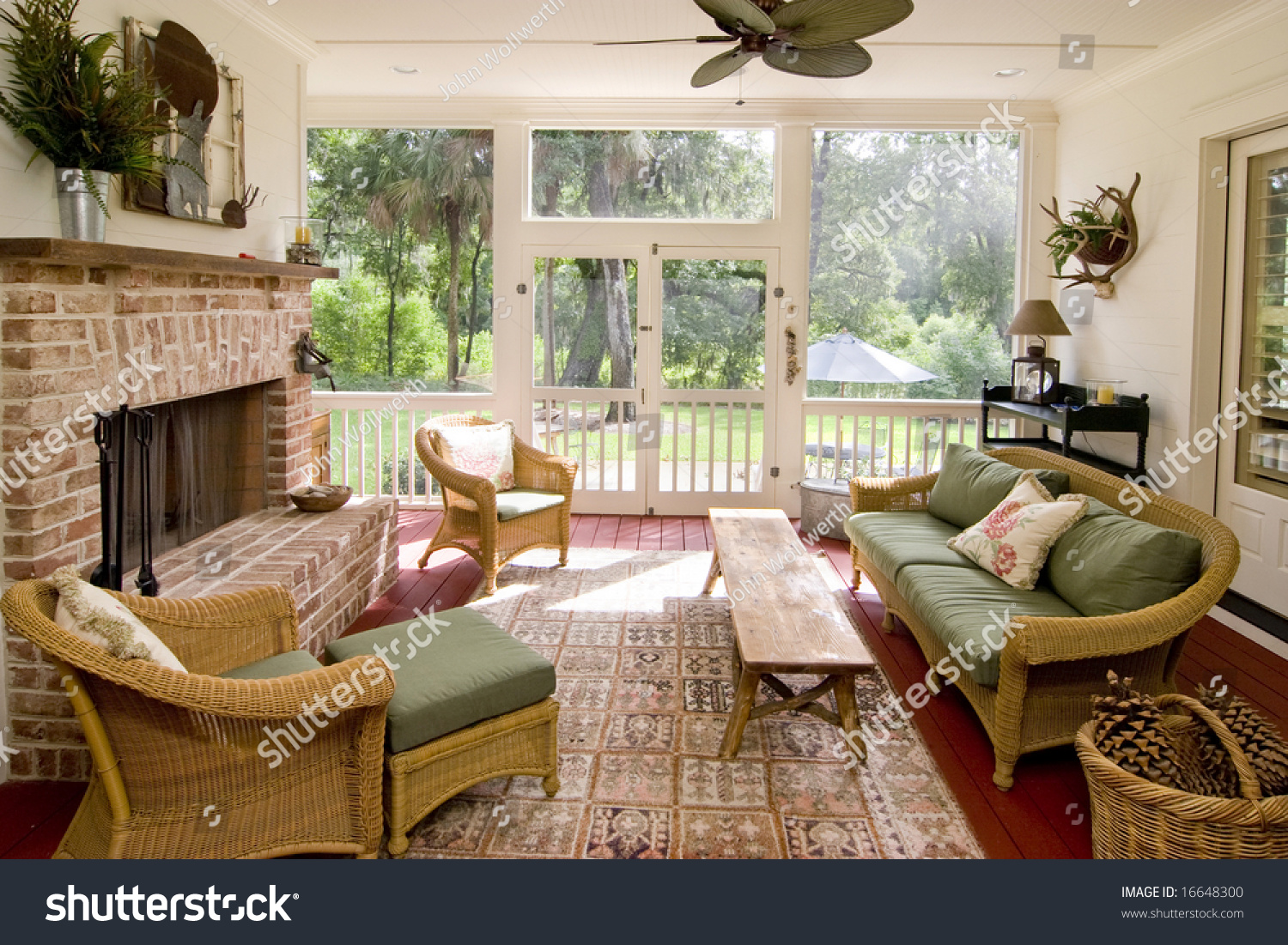 screened in porch with fireplace. Screen Porch With Fireplace And Wicker Furniture Screened In