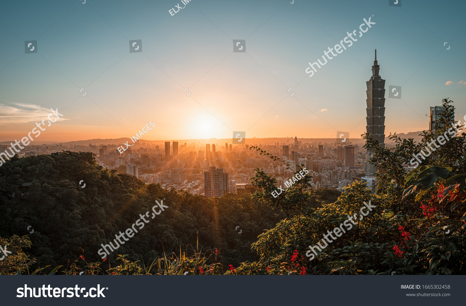 Stunning sunset view of Taipei with Taipei 101 tower, north of Taiwan #1665302458