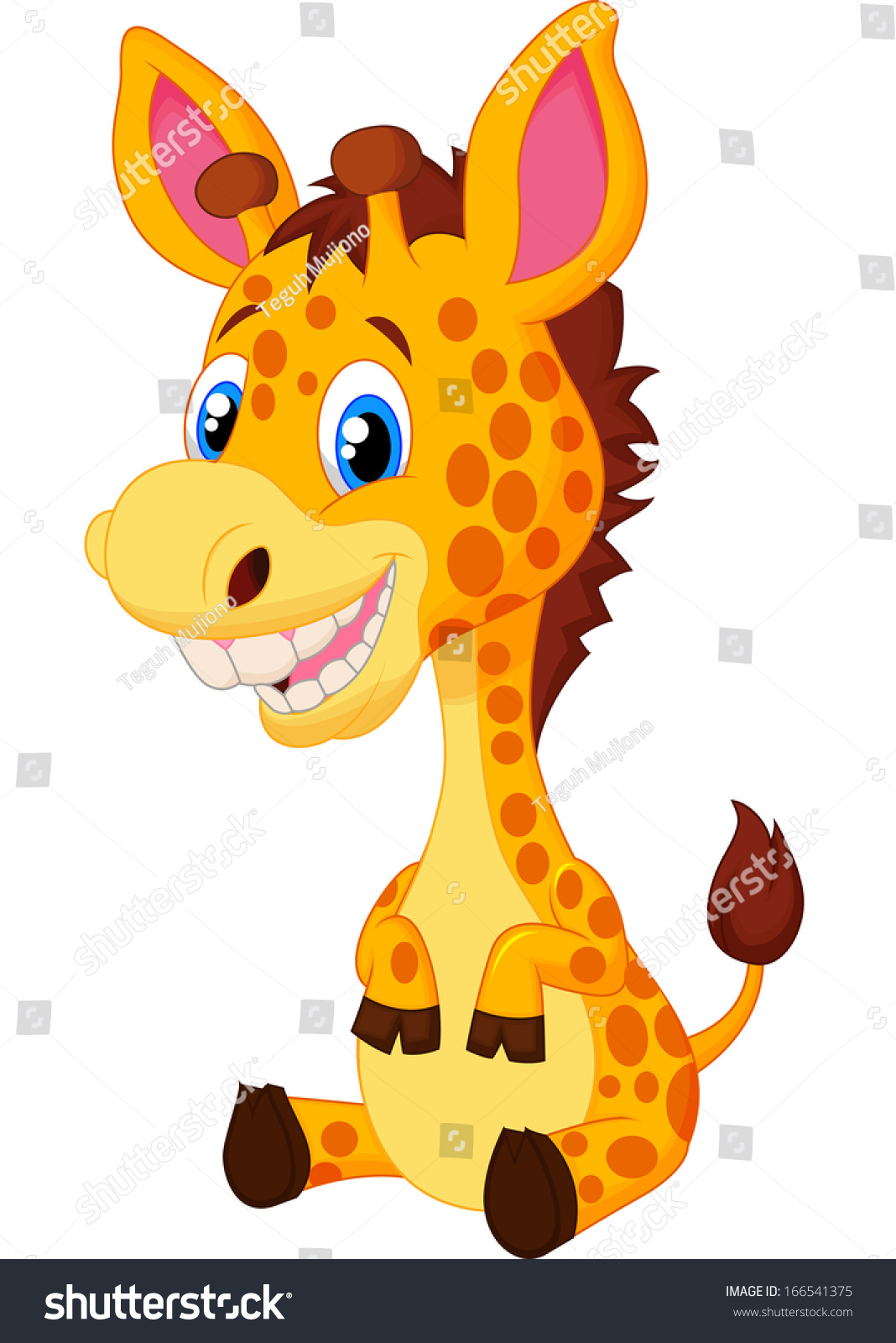 Cute Baby Giraffe Cartoon Stock Vector Illustration ...