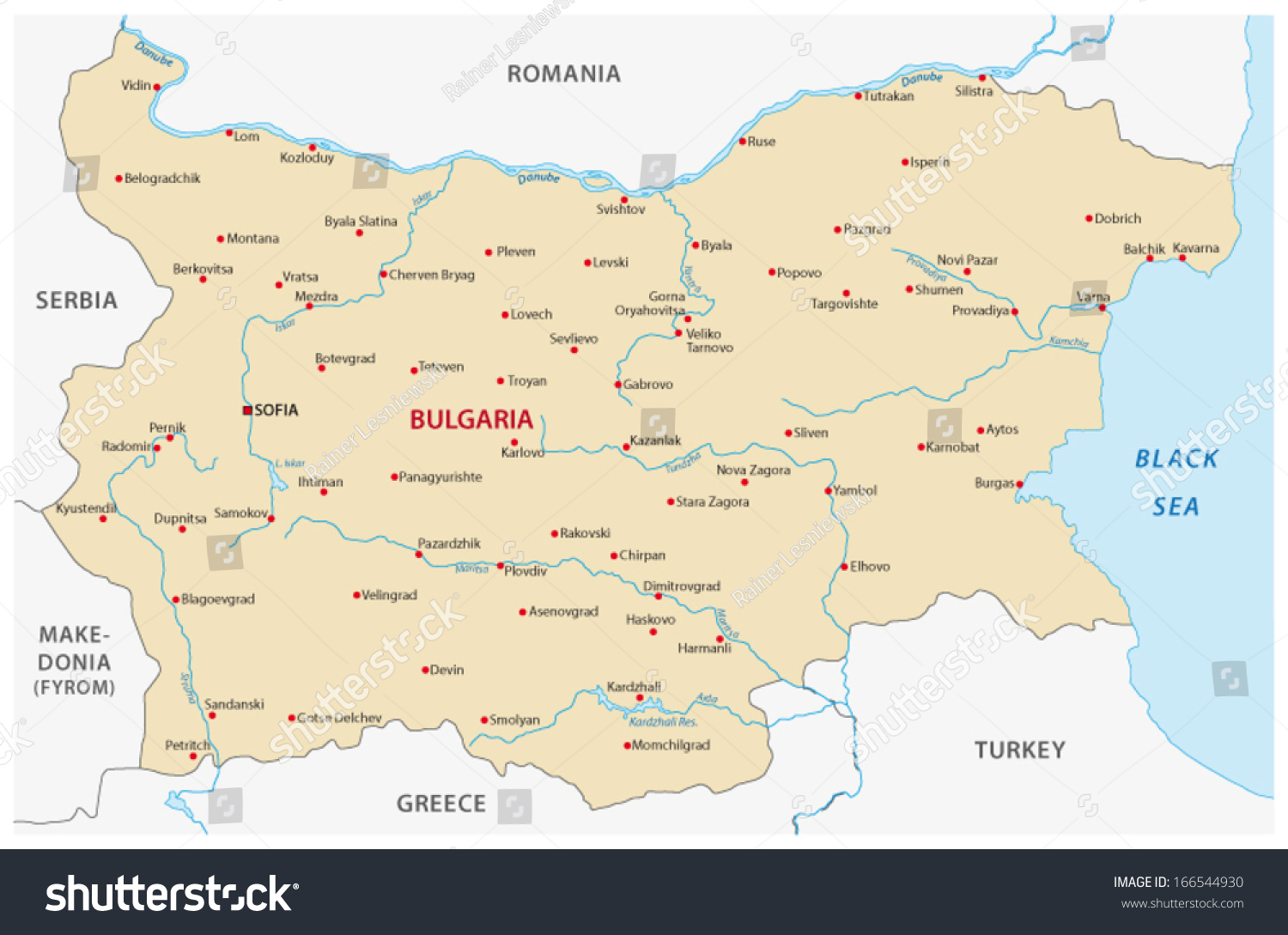 Bulgaria Map Stock Vector HD Royalty Free 166544930 Shutterstock