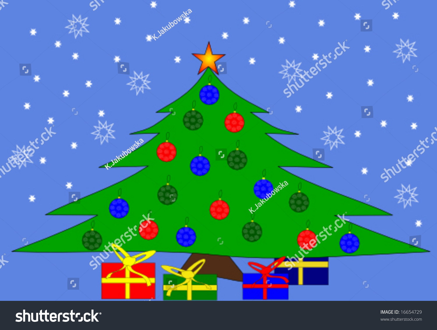 Christmas tree and gifts on blue background vector | EZ Canvas