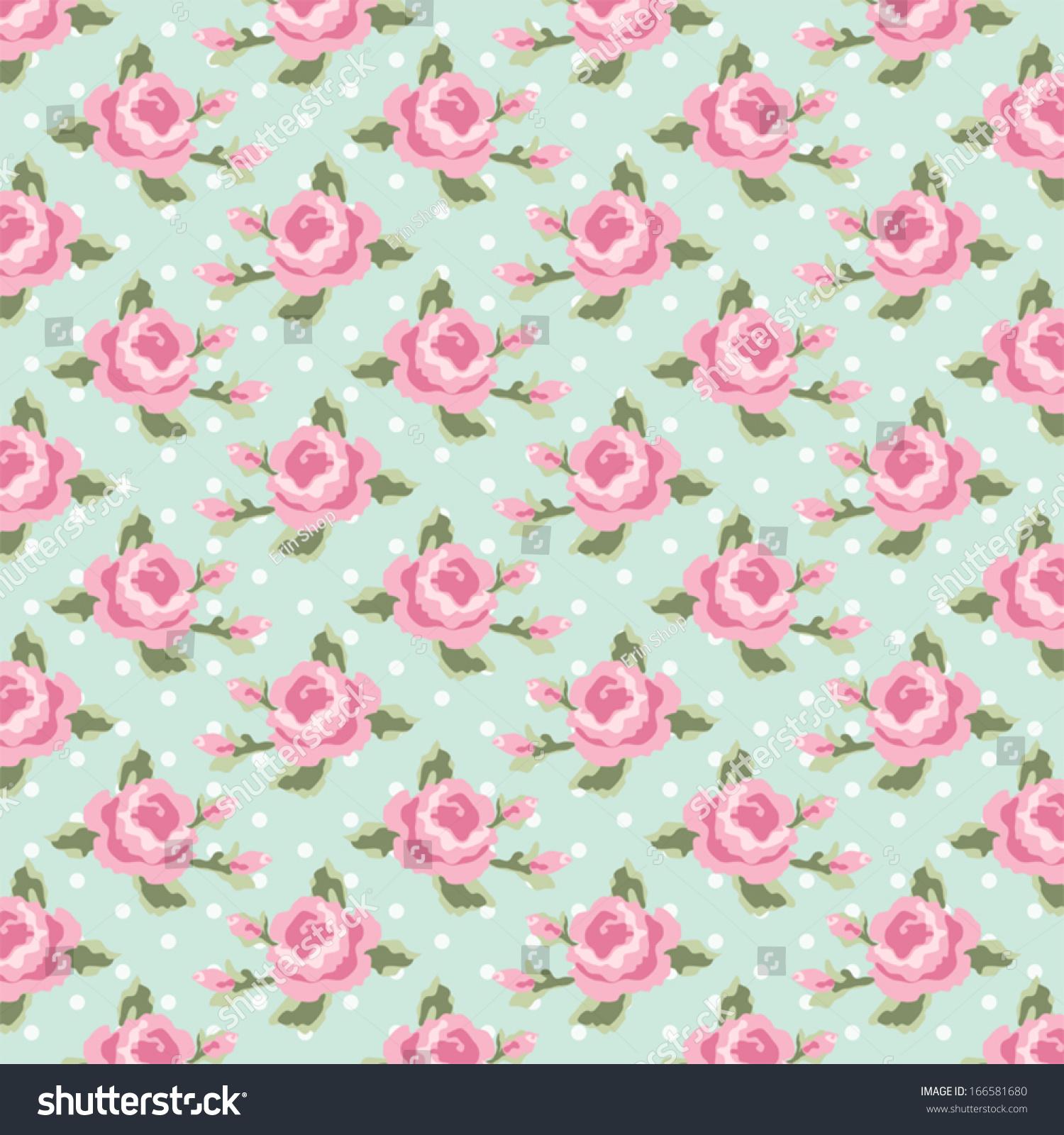 Retro Pattern Shabby Chic Roses On Stock Vector 166581680