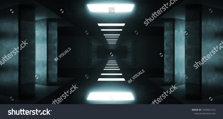 Futuristic Modern Sci Fi Dark Elegant Grunge Concrete Empty Long Tunnel Corridor Reflective Material Empty Space For Text And Blue Window Light Led Concrete Big Columns 3D Rendering Illustration #1665821413