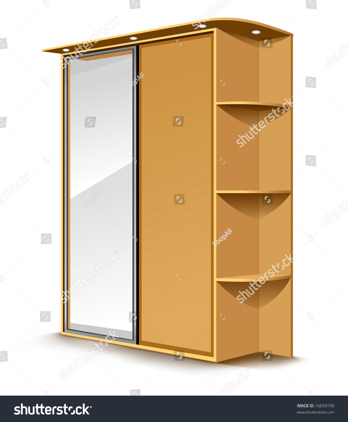 Amazing photo of vector wooden wardrobe with mirror and shelfs isolated on white  with #70410C color and 1319x1600 pixels