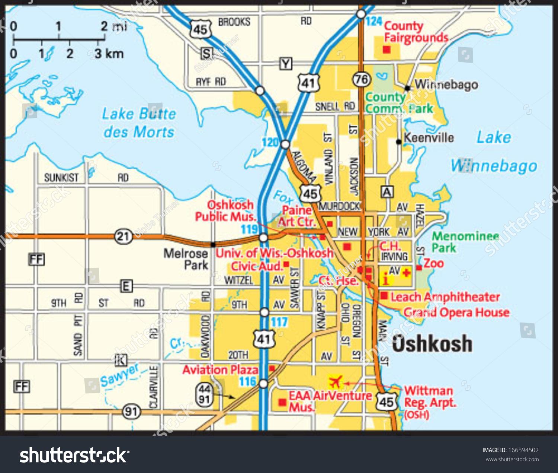 Map Of Oshkosh Wi Oshkosh Wisconsin Area Map Stock Vector (Royalty Free) 166594502