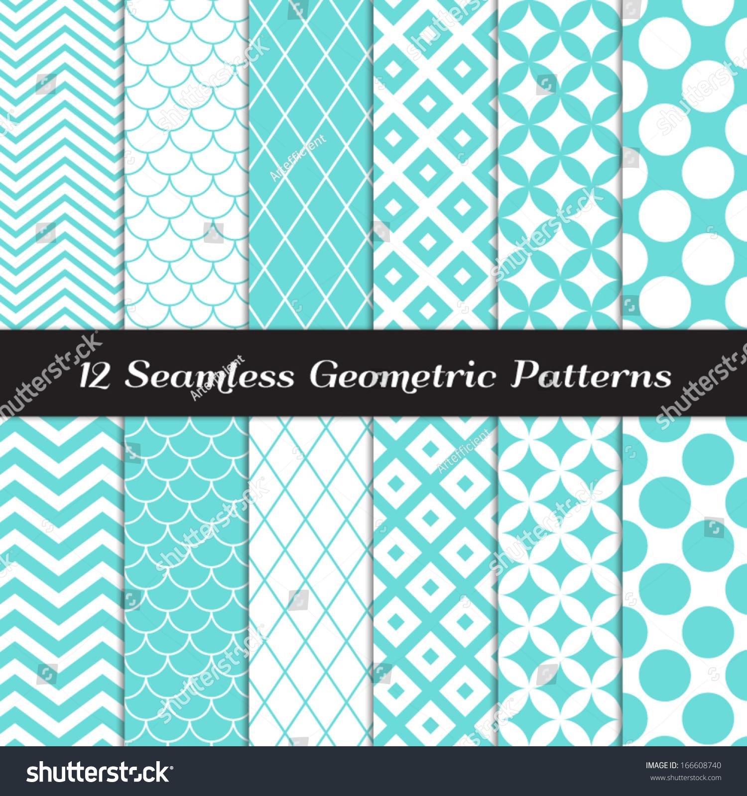 Turquoise And White Geometric Seamless Patterns Retro Mod Backgrounds In Jumbo Polka Dot Diamond
