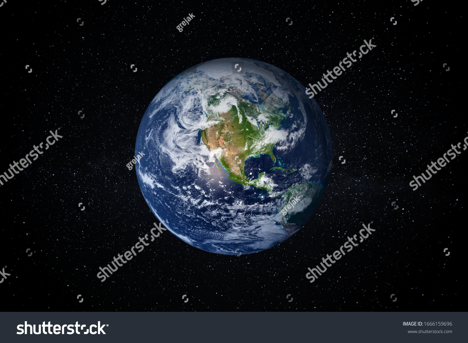 Planet Earth in the Starry Sky of Solar System in Space. This image elements furnished by NASA. #1666159696
