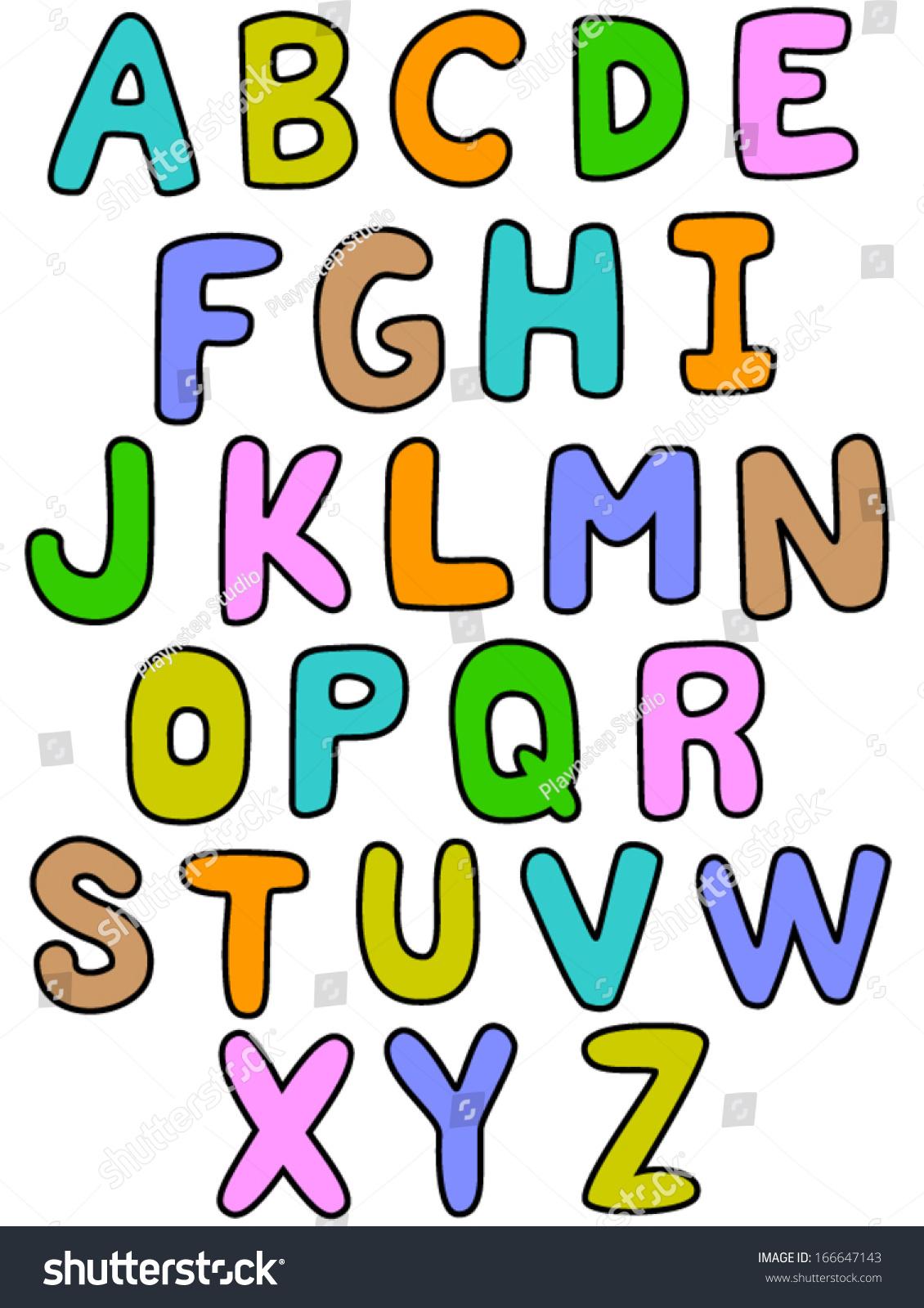 alphabet a z outline color