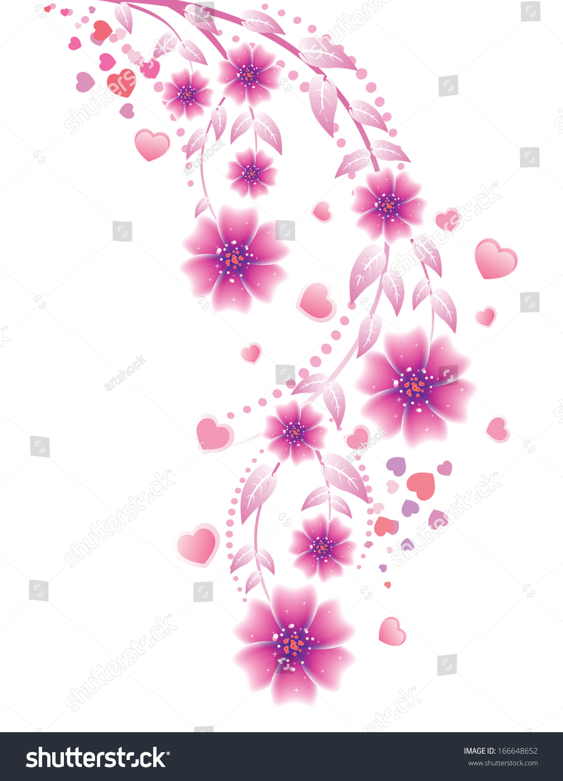 Lovely Pink Flowers Hearts Ornament On Stock Vector Royalty Free