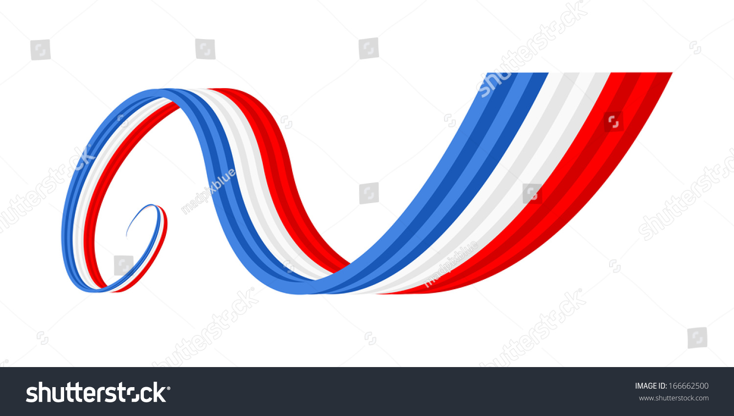 Abstract Blue White Red Waving Ribbon Flag Stock Vector