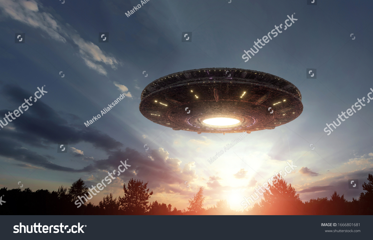 UFO, an alien plate hovering over the field, hovering motionless in the air. Unidentified flying object, alien invasion, extraterrestrial life, space travel, humanoid spaceship mixed medium #1666801681