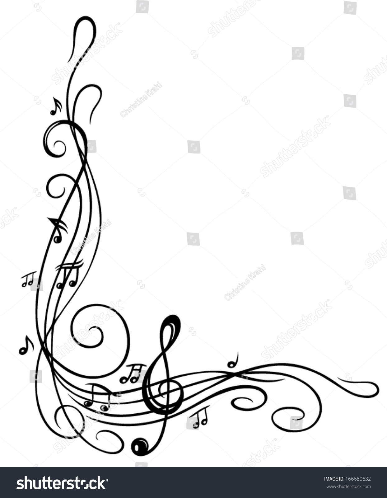 clef with music sheet and music notes border stock vector