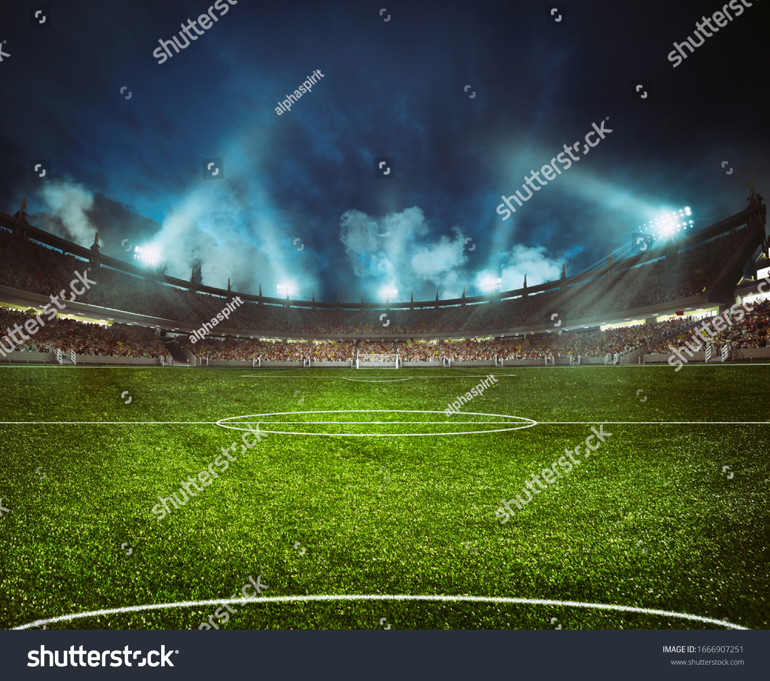 Football stadium with the stands full of fans waiting for the night game #1666907251