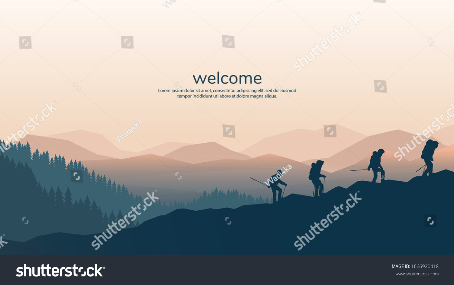 Vector background with tourists. Travel concept of discovering, exploring and observing nature. Hiking. Travelers climb with backpack and travel walking sticks. Website template. Flat landscape