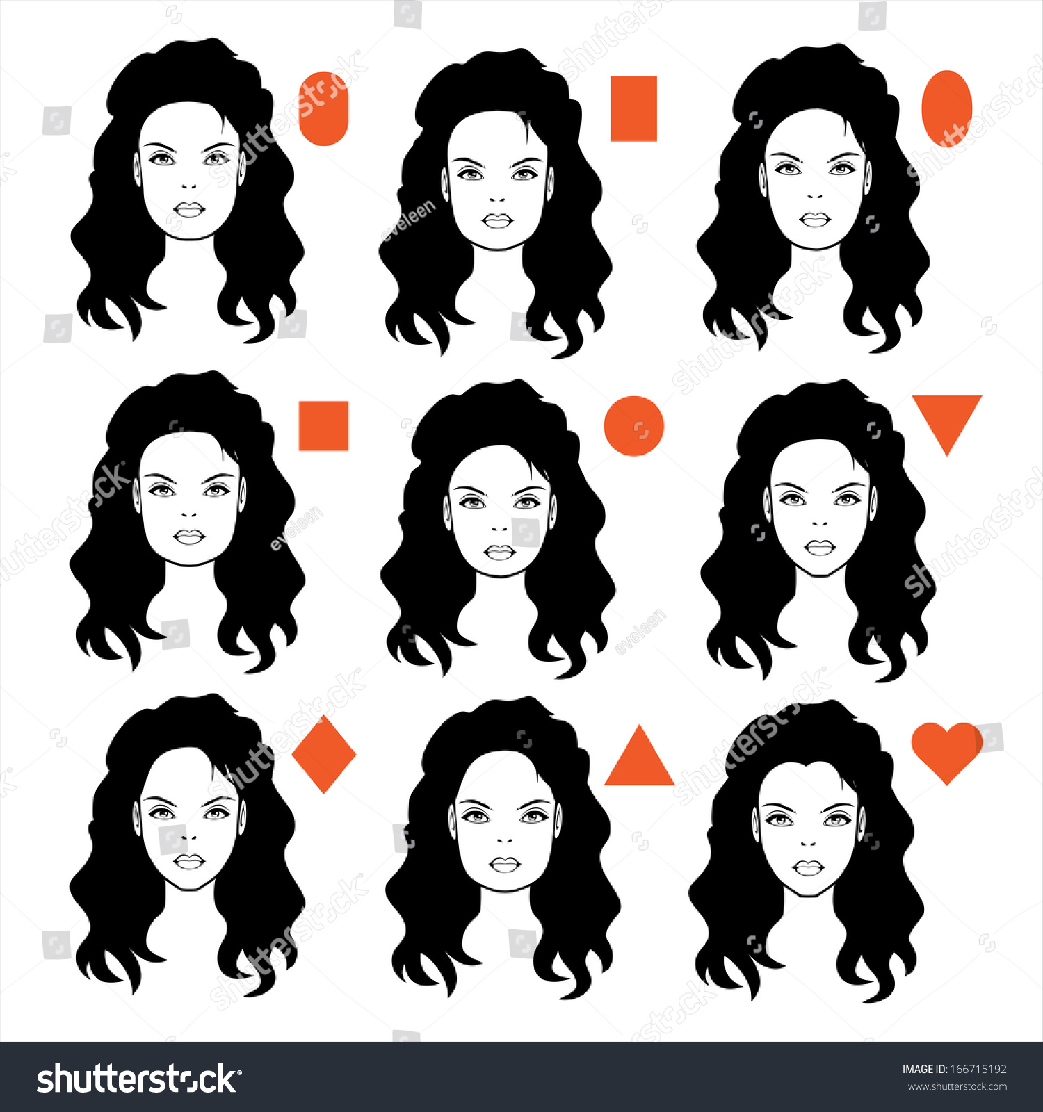 Vector Forms Womens Head Types Face Stock Vector 166715192