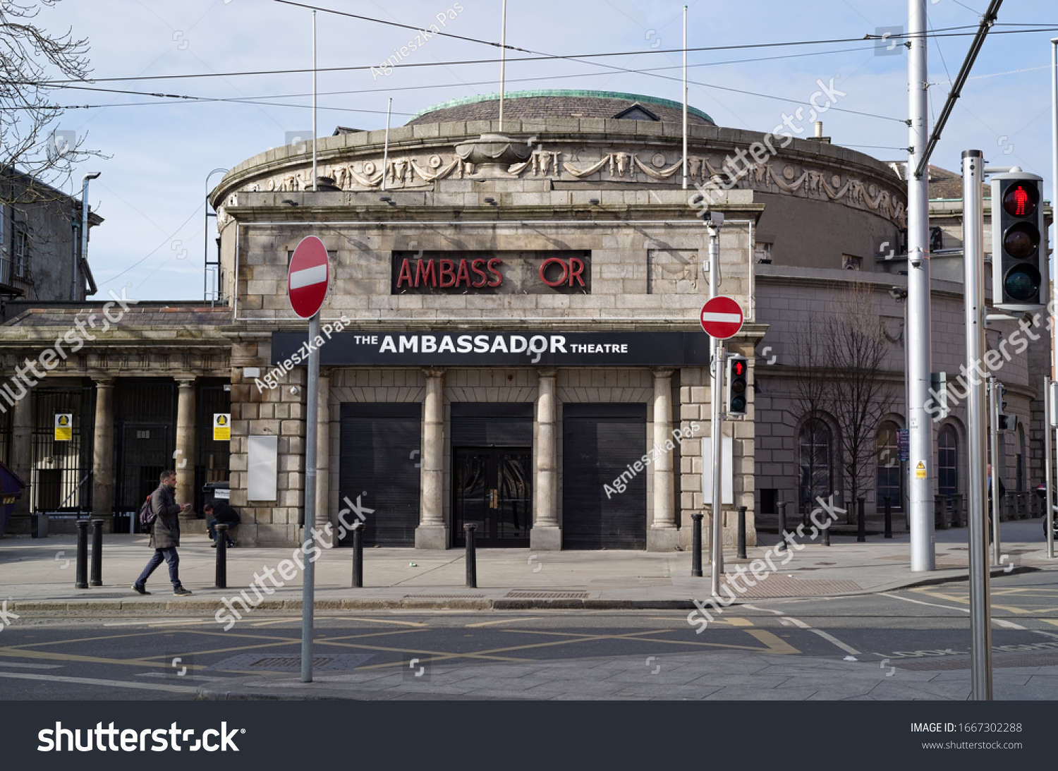DUBLIN, IRELAND - MARCH 5, 2020: Main entrance to the Ambassador Theatre. The building recently renovated is currently used as an exhibition and event centre. Sunny winter day.