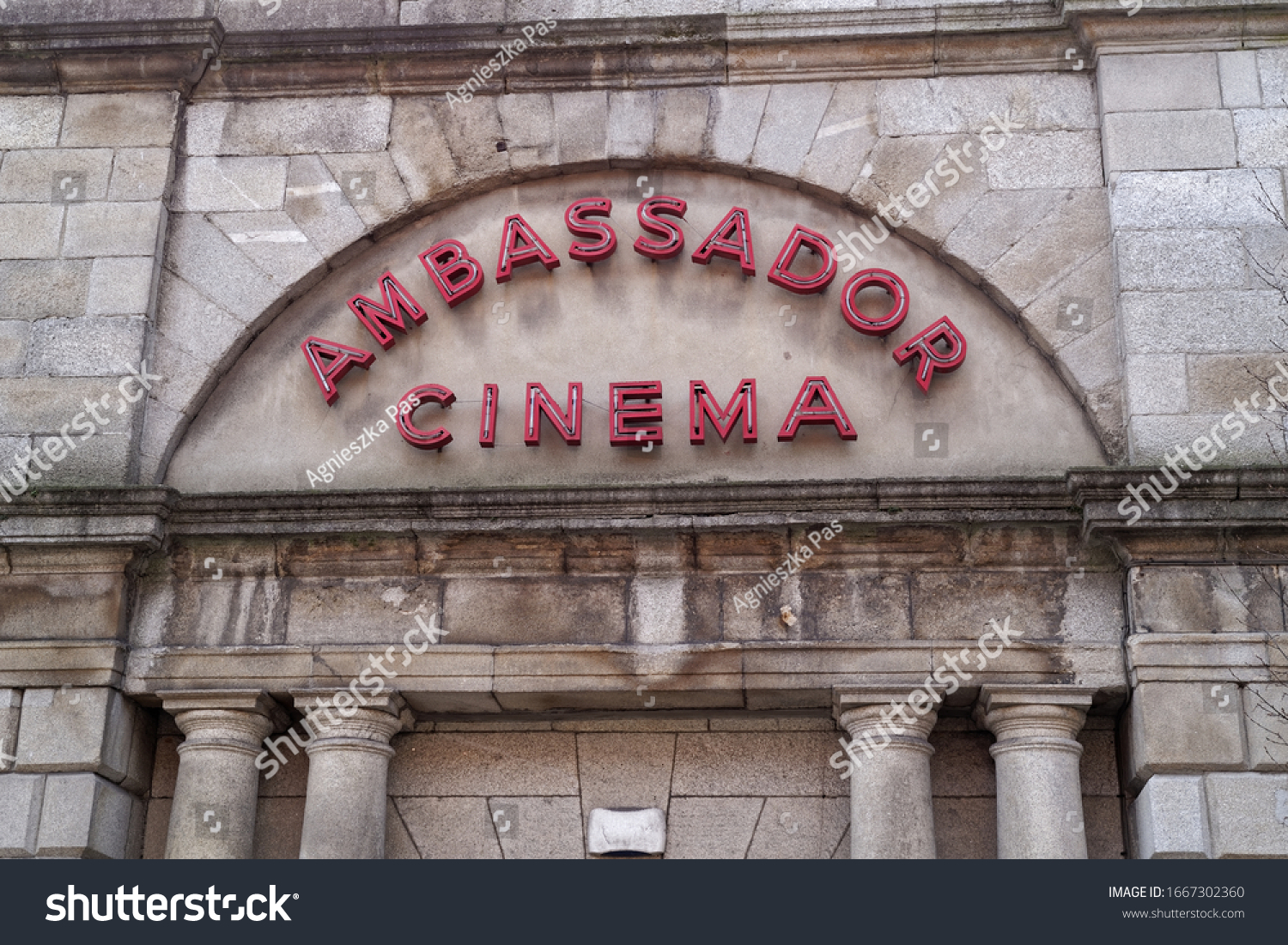 DUBLIN, IRELAND - MARCH 5, 2020: Neon sign with Ambassador Cinema name. The building was used as cinema in the past and currently it's exhibition and event centre.