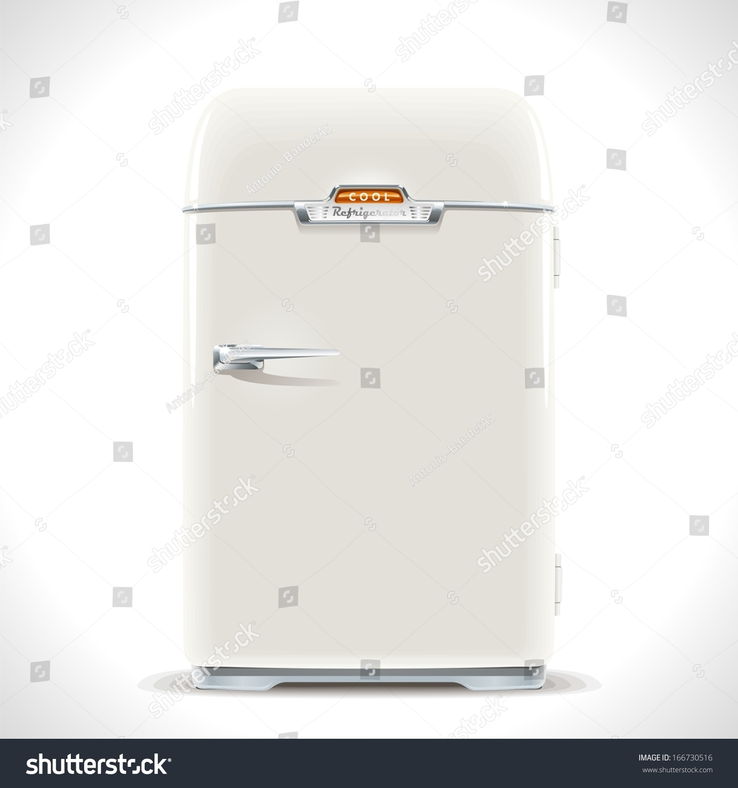refrigerator vintage. old refrigerator. realistic illustration of an vintage fridge last century with chrome handle. refrigerator