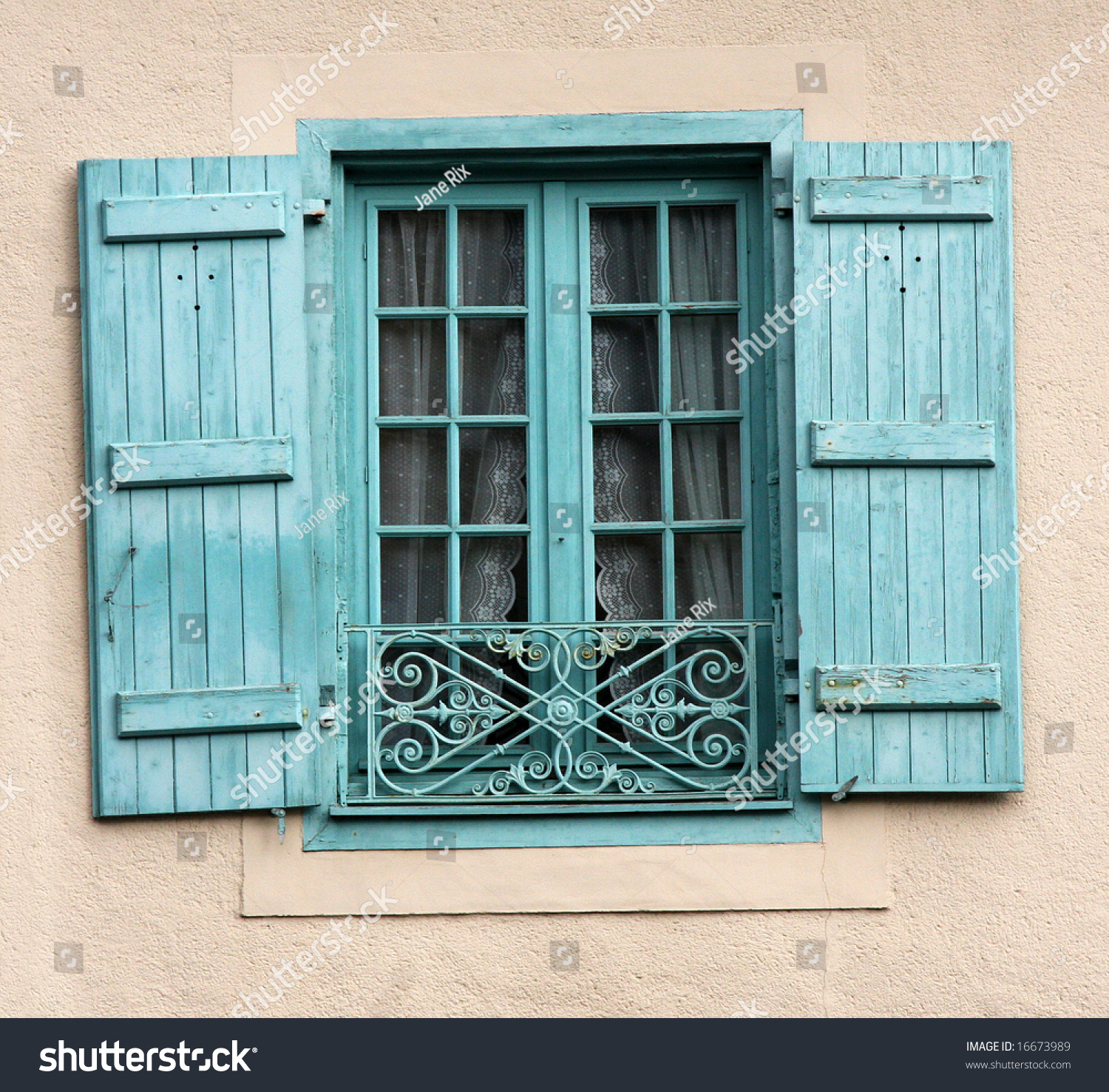 Traditional Style French Window Shutters Ironwork Stock