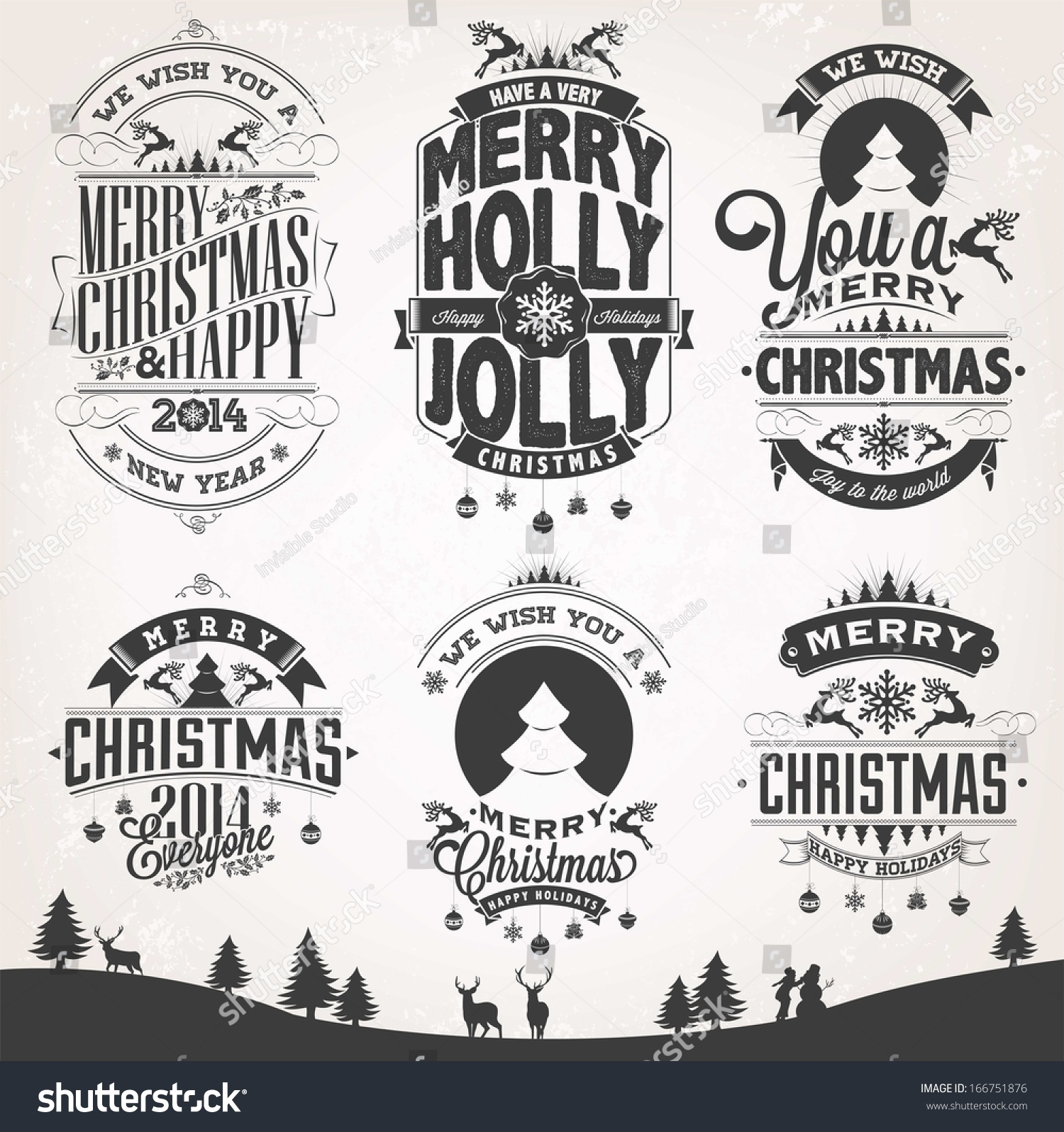 Royalty-free Christmas Retro Icons, Elements And… #166751876 Stock ...