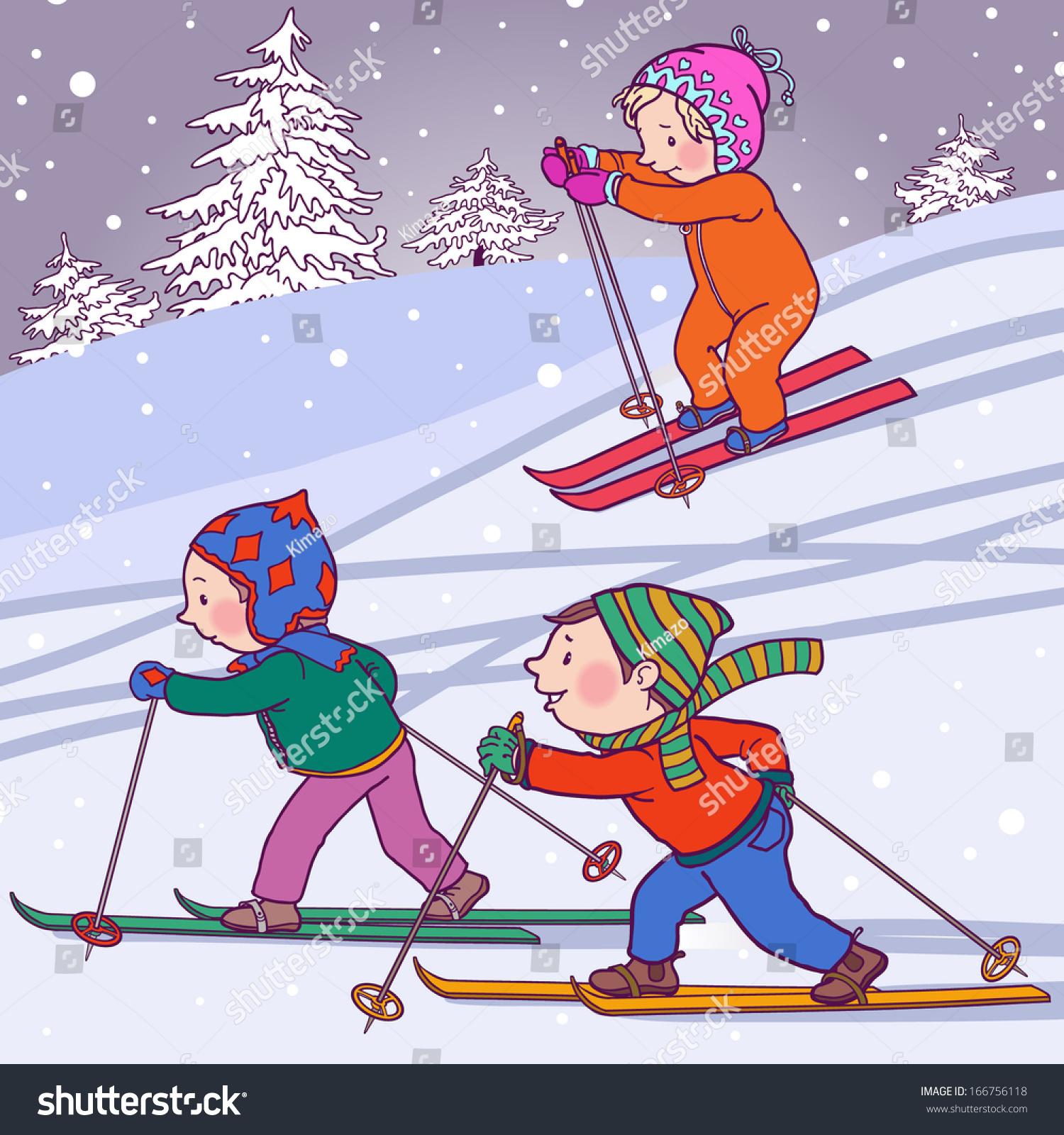 Картинка зима дети катаются на лыжах 3