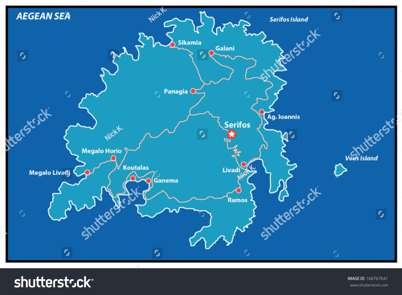 Serifos Island Vector Map Greece This Stock Vector Royalty Free