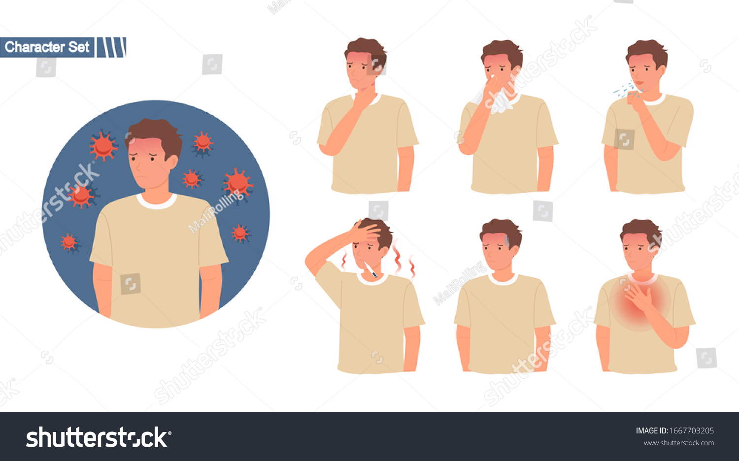 Covid19 Symptom Set Corona Infection Virus Stock Vector Royalty Free 1667703205