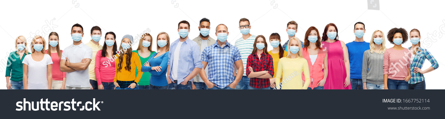 health, safety and pandemic concept - group of people wearing protective medical masks for protection from virus #1667752114