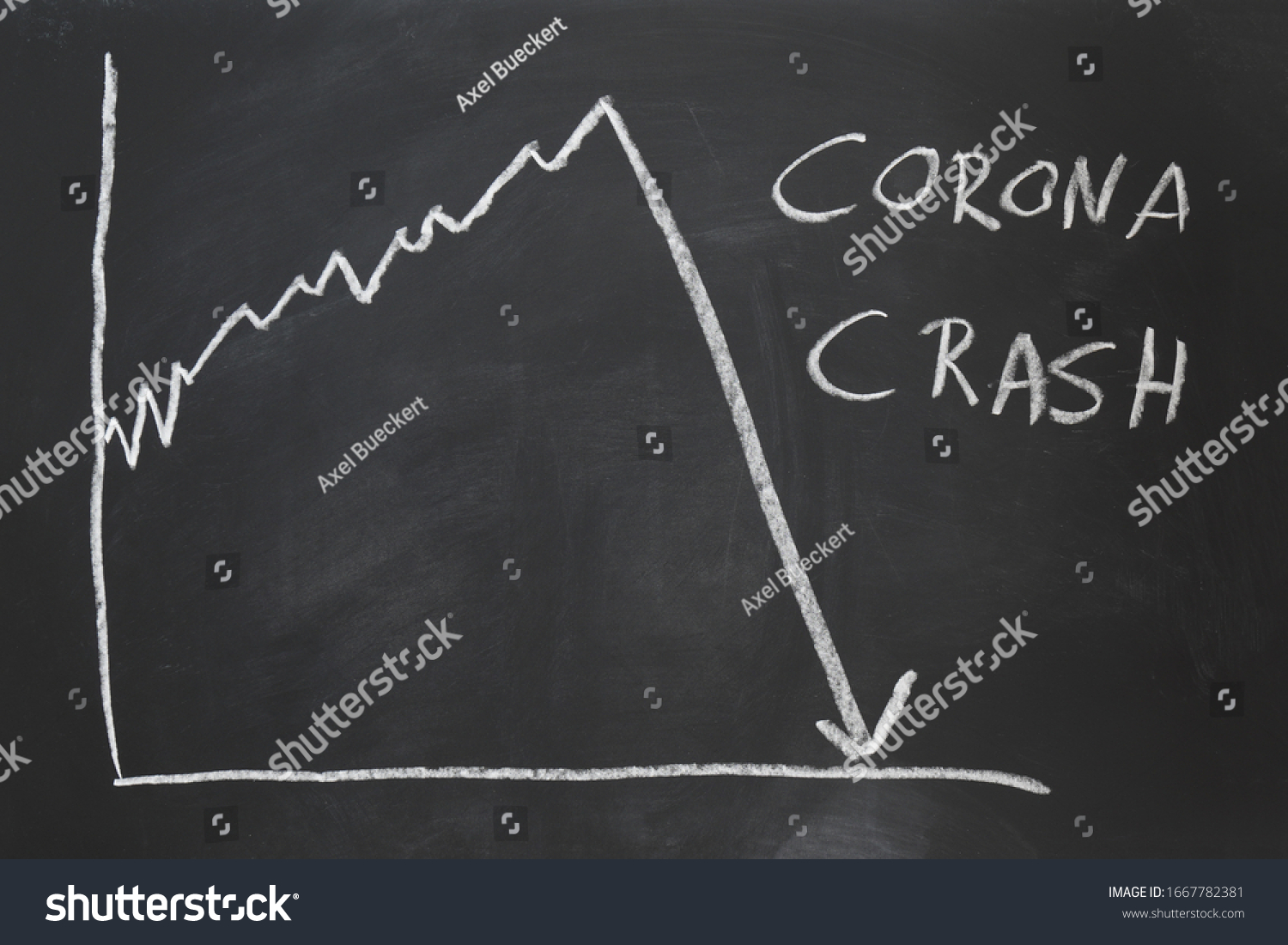 corona crash - hand-drawn graph on chalkboard showing stock market collapse or financial economy crisis caused by coronavirus #1667782381
